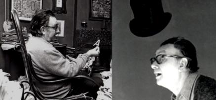 Joan Brossa a l'estudi de Balmes l'any 1974. Fotògraf: Pau Barceló / Joan Brossa amb un barret de copa l'any 1977. Fotògraf: Antoni Bernad.